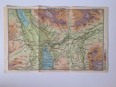 Environs Of Keswick, The Lake District c1922 Antique Map Bartholomew, No.7