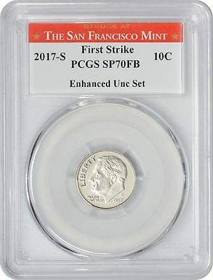 2017-S Enhanced Uncirculated Set Roosevelt Dime SP70FB PCGS First Strike SF