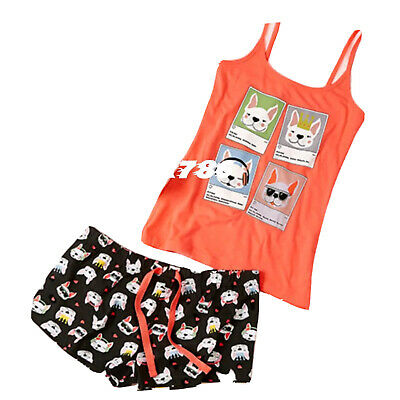 Primark ladies Love to Lounge Bull the Bull Dog cami vest & short set pjs BNWT