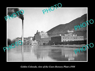 OLD LARGE HISTORIC PHOTO OF GOLDEN COLORADO, THE COORS BREWERY PLANT c1930
