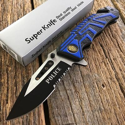 """8"""" POLICE DEPT. US Military Spring Assisted Open Rescue Pocket Knife Tactical -F"""