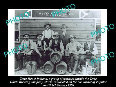 OLD LARGE HISTORIC PHOTO OF TERRE HAUTE BREWERY INDIANA, FACTORY WORKERS c1900