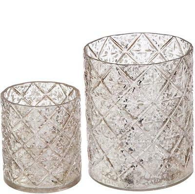 New Raz Silver Glass Votive Christmas Candle Holder 3622953