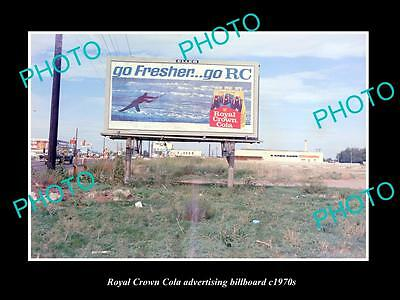 OLD LARGE HISTORIC PHOTO OF RC ROYAL CROWN COLA ADVERTISING BILLBOARD c1970s 1