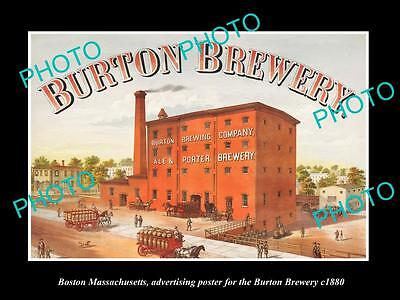 Old Large Historic Photo Of Boston Massachusetts, The Burton Brewery Poster 1880