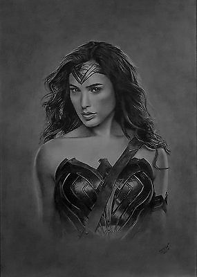 Original pencil drawing of Wonder Woman, Justice League, DC comics, superhero