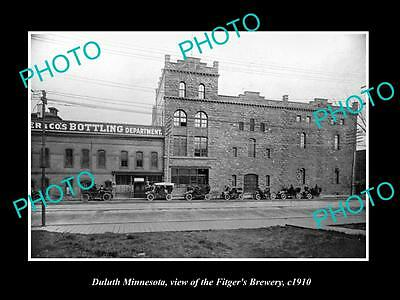 OLD LARGE HISTORIC PHOTO OF DULUTH MINNESOTA, THE FITGERS BREWERY PLANT c1910