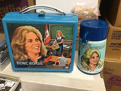 Bionic Woman tv show lunch box and Thermos 1976