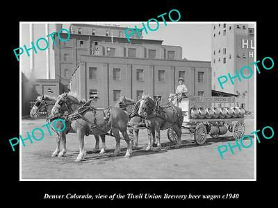 OLD LARGE HISTORIC PHOTO OF DENVER COLORADO, THE TIVOLI BREWERY WAGON c1940 2