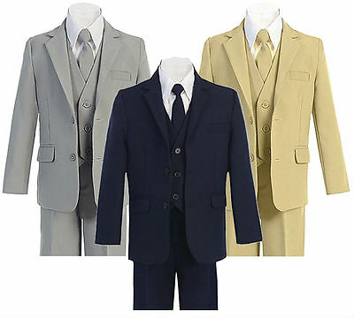 Boys Toddler Formal Suit 5 Pcs Set Slim Fit Jacket Pants Vest Dress Shirt Tie