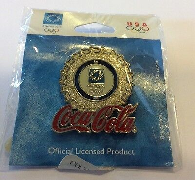 2004 Coca Cola Athens Bottle Cap Moving Center Olympic Pin! New In Package! Nice