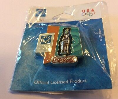 2004 Coca Cola Athens Spinning Bottle Olympic Pin! New In Package! Nice