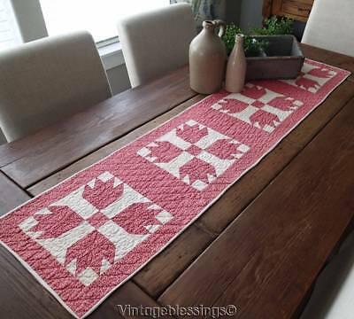Sweet Double Pink Antique c1880 Farmhouse Table QUILT RUNNER 55x13