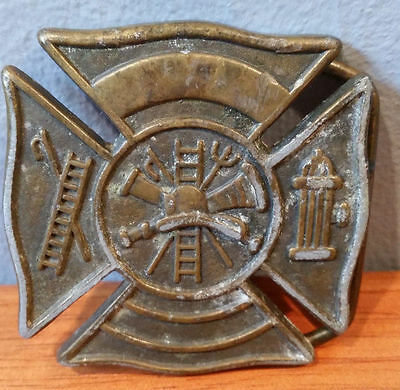 "Vintage Fire Fighter Brass Belt Buckle Rare 2"" X 2"" Collectable"