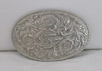 Womens or Childs Small Western Belt Buckle Etched Flowers in Oval