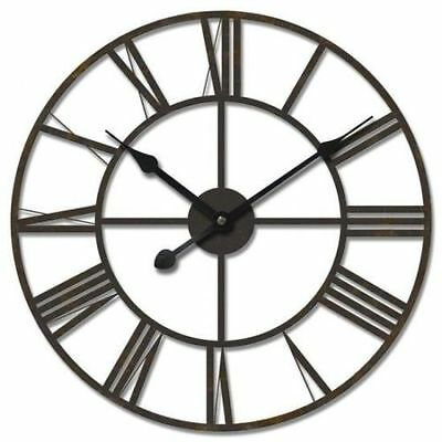 HUGE Metal Clock Wrought Iron Roman Numerals Wall Clock Art Luxury Decor