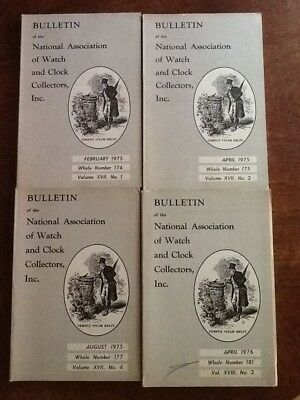 Lot of 4 Issues Bulletin Watch and Clock Collectors (NAWCC) 1975-76