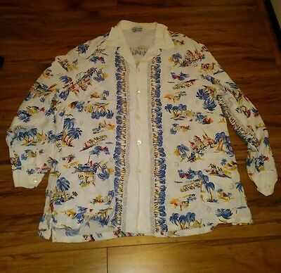 Royal Palm sportswear 1940 1950's Vintage Hawaiian Souvenir Shirt middle east