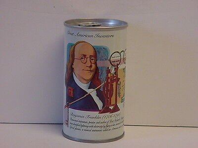 Graf's Cherry Soda Straight Steel Pull Tab Bottom Opened Can Benjamin Franklin