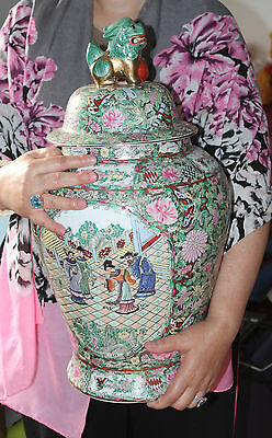 A Giant 51.5 cm C19th Chinese Cantonese Famille Rose Temple Jar Foo Dog Finial