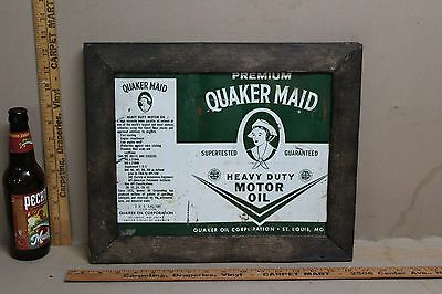 1960's QUAKER MAID MOTOR OIL METAL SIGN IN WOOD FRAME SIGN GAS OIL GARAGE FORD