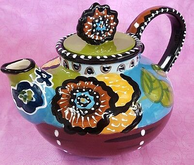 TEAPOT BY HEATHER GOLDMINC Floral Blue Sky Clayworks