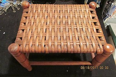 Vintage woven cane bench stool