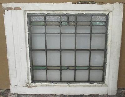 MIDSIZED OLD ENGLISH LEADED STAINED GLASS WINDOW Beautiful Lattice 25.25 x 21.25