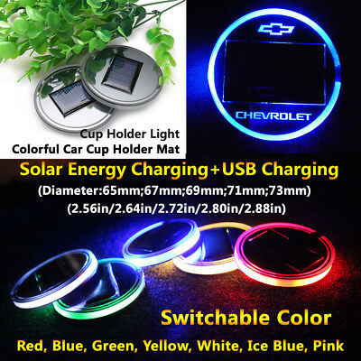 1pcs Solar Energy Cup Holder LED Car Light Lamp Parts For Chevrolet Accessories