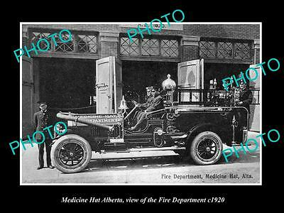OLD LARGE HISTORIC PHOTO OF MEDICINE HAT ALBERTA, THE FIRE DEPARTMENT c1920