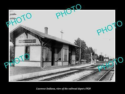 OLD LARGE HISTORIC PHOTO OF LACROSSE INDIANA, THE RAILROAD DEPOT STATION c1920