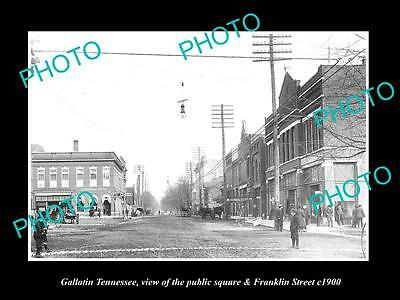 OLD LARGE HISTORIC PHOTO OF GALLATIN TENNESSEE, VIEW OF FRANKLIN STREET c1900