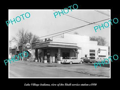 OLD LARGE HISTORIC PHOTO OF LAKE VILLAGE INDIANA, THE SHELL OIL Co STATION c1950