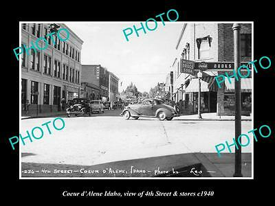 OLD LARGE HISTORIC PHOTO OF COEUR d'ALENE IDAHO, 4th STREET & STORES 1940
