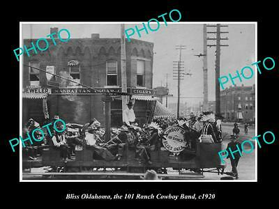 OLD LARGE HISTORIC PHOTO OF BLISS OKLAHOMA, THE 101 RANCH COWBOY BAND c1920