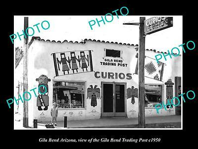 OLD LARGE HISTORIC PHOTO OF GILA BEND ARIZONA, VIEW OF THE TRADING POST c1950