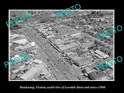 OLD LARGE HISTORIC PHOTO OF DANDENONG VICTORIA, AERIAL VIEW OF LONSDALE St c1960