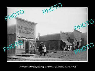 OLD LARGE HISTORIC PHOTO OF MEEKER COLORADO, THE SALOON & STORES c1900