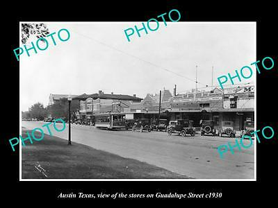 OLD LARGE HISTORIC PHOTO OF AUSTIN TEXAS, VIEW OF GUADALUPE St AND STORES c1930