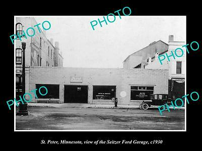 OLD LARGE HISTORIC PHOTO OF ST PETER MINNESOTA, THE SEITZER FORD GARAGE c1930