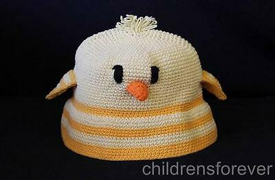 Day Lee Design Duck Crochet Baby Hat Yellow Knit Cap Infant Girl or Boy 0/6 M
