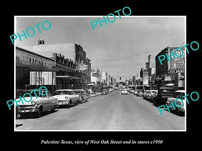 OLD LARGE HISTORIC PHOTO OF PALESTINE TEXAS, VIEW OF WEST OAK St & STORES c1950