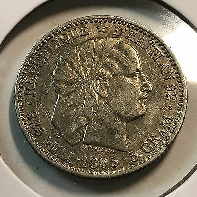 Haiti 1895 Twenty Centimes Silver Scarce Coin Better Grade