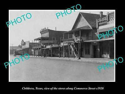 OLD LARGE HISTORIC PHOTO OF CHILDRESS TEXAS, VIEW OF COMMERCE STREET c1920