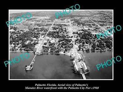 OLD LARGE HISTORIC PHOTO OF PALMETTO FLORIDA, AERIAL VIEW OF WATERFRONT c1960