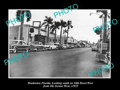 OLD LARGE HISTORIC PHOTO OF BRADENTON FLORIDA, VIEW OF 10th STREET & STORES 1955