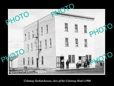OLD LARGE HISTORIC PHOTO OF COLONSAY SASKATCHEWAN, VIEW OF THE TOWN HOTEL c1900