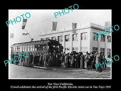 Old Historic Photo Of Van Nuys California, Pacific Electric Railway Arrival 1911