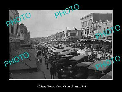 OLD LARGE HISTORIC PHOTO OF ABILENE TEXAS, VIEW OF PINE STREET & STORES c1920