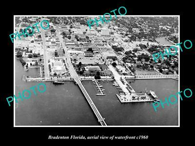 OLD LARGE HISTORIC PHOTO OF BRADENTON FLORIDA, AERIAL VIEW OF WATERFRONT c1960 2